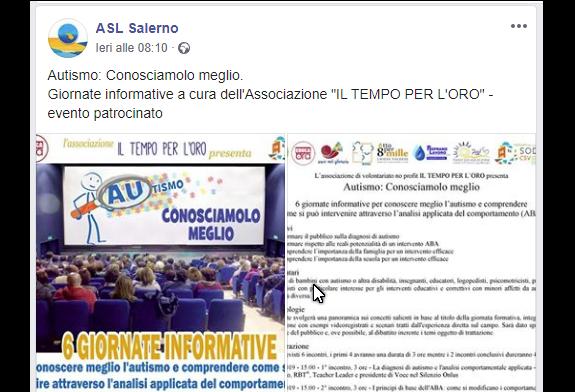 Sulla pagina Facebook dell'ASL Salerno le nostre giornate informative